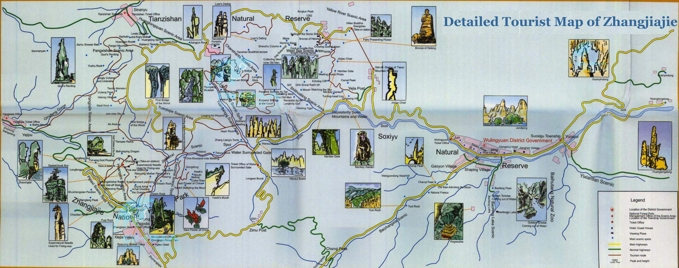 Zhangjiajie Detailed Tourist Map with Illustrations