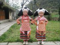 Travel Photos of Miao Minority Cute Little Girls in Native Costumes
