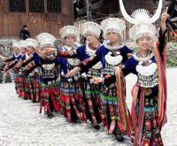 Travel Photos of Miao Minority Women Dancing in Line