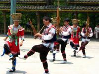 Travel Photos of Miao Minority Dancing in Pairs