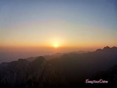 Sunrise Image in Huashan Mountain East Peak