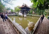 One Pillar Pagoda in a lotus pond