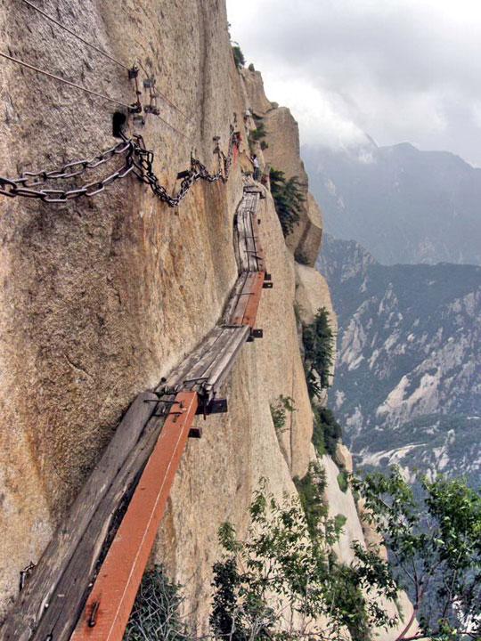 Plank road on mountain huashan mt xi an