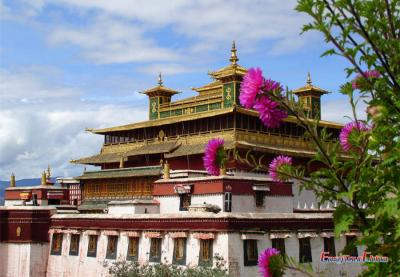 Samye Monastery with Flowers
