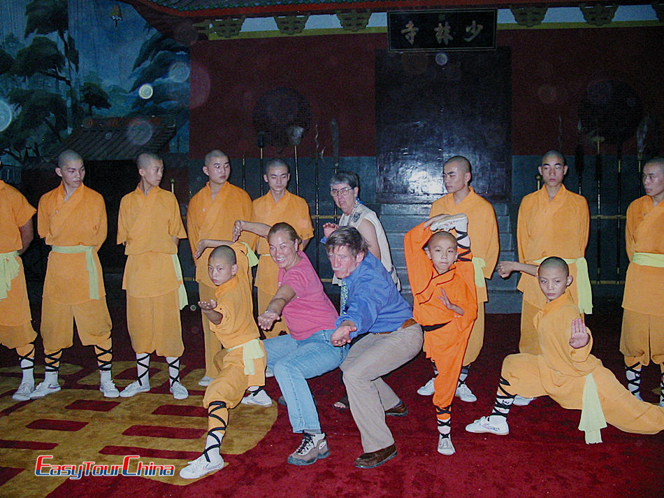 Easy Tour China clients with Shaolin master in the temple of China