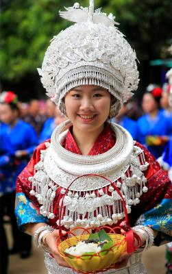 Miao girls in traditional Miao costumes