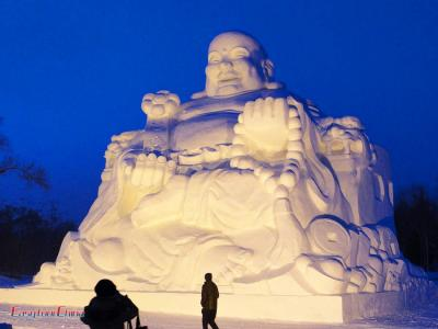 Buddha Snow Sculpture at Sun Island