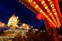 Temple of Bliss Dazzling Night Scenery