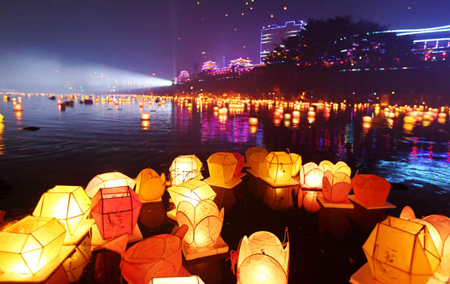 water lamps for Ghost festival in China