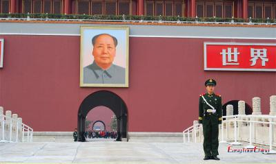 Chairman Mao Portrain at Tiananmen Rostrum