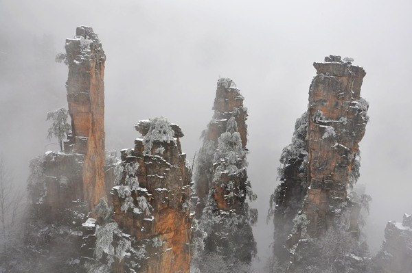 Tianzishan of Zhangjiajie in Snow