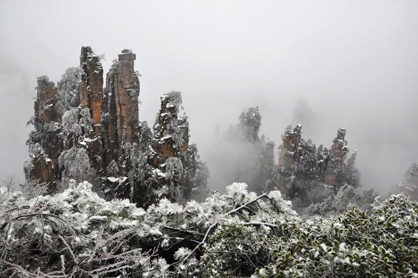 Tianzi Mountain Of Zhangjiajie In Winter Zhangjiajie