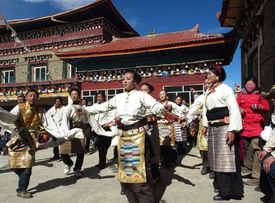 Tibetan People Dancing