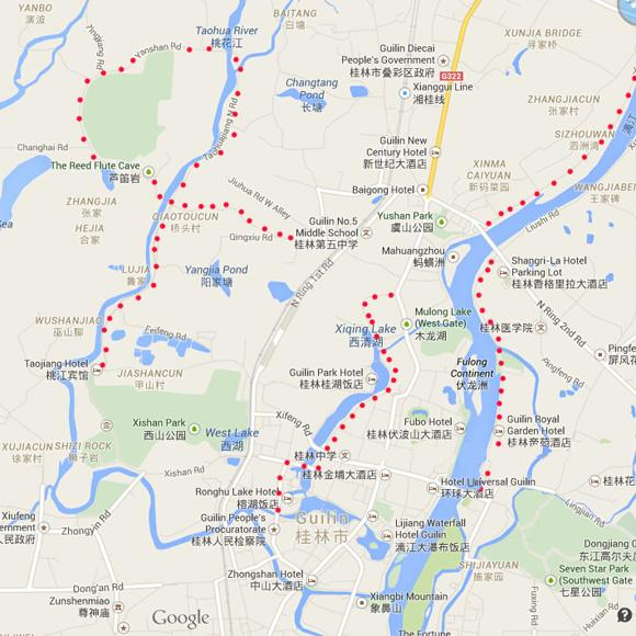 English maps for biking in Guilin
