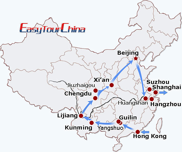 China travel map - Fantastic China Tour