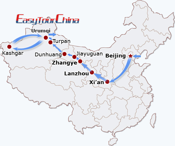 China travel map - China Silk Road Train Tour from Beijing