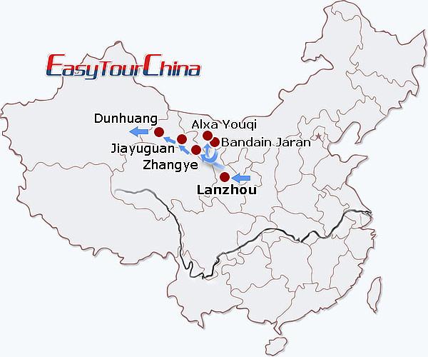 Gansu China Map.10 Day Gansu Highlights Badain Jaran Desert Exploration Tour