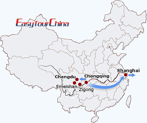 China travel map - Sichuan+Yangtze Combo