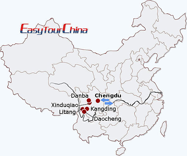 China travel map - Sichuan Getaway to Mt. Siguniang, Danba & Xinduqiao