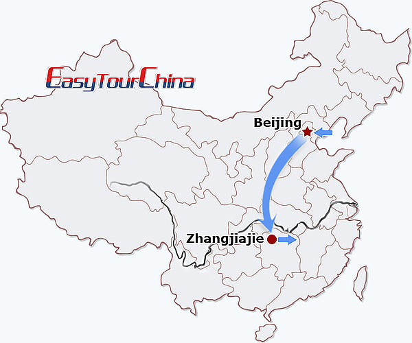 China travel map - Beijing Zhangjiajie Getaway Tour