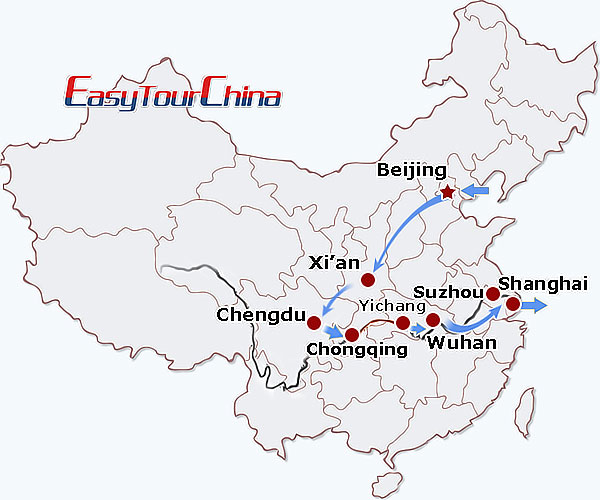 China travel map - China Train + Yangtze Cruise Tour