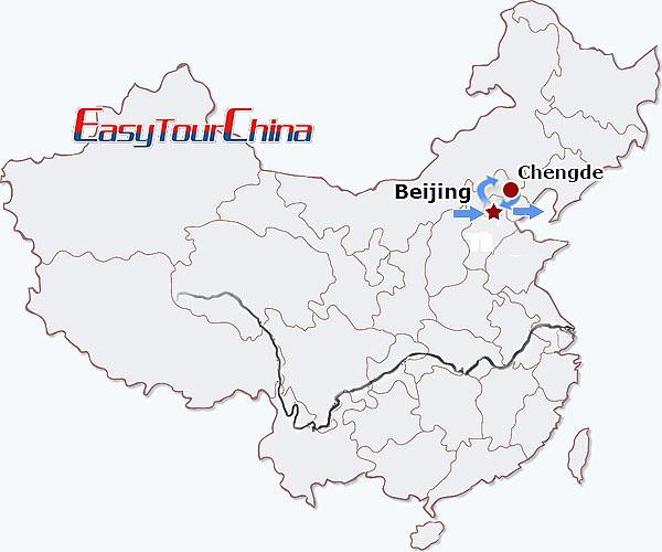 China Travel Map - World Heritages of Beijing Tour with Extension to Chengde