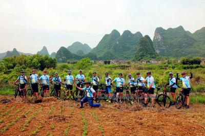 Forrest and Clients from Brazil Biking to Yangshuo Countryside in 2017