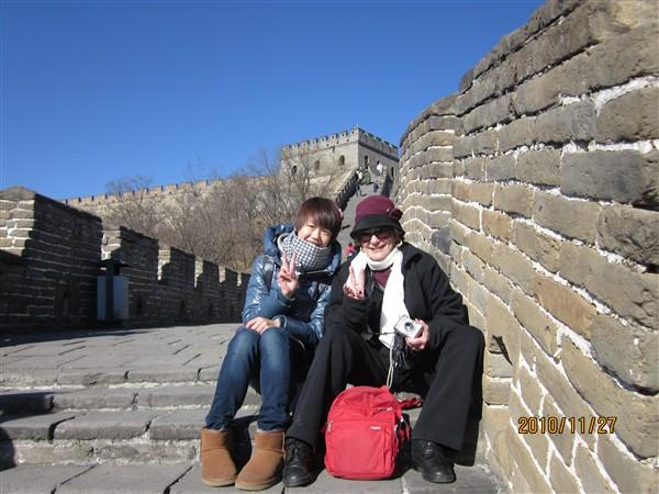 Peicy and customers at Great Wall, Beijing