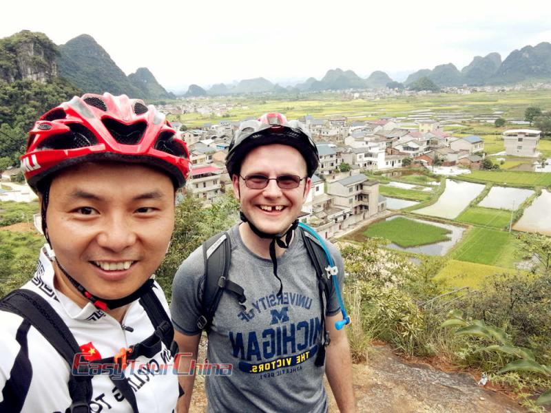 Robert and Customer Biking to Guilin Huixian Wetland in 2018