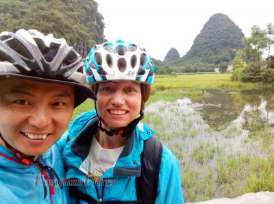 Robert and Client Cycling to Yangshuo Countryside in 2017