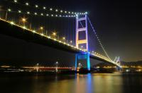 Light-decorated Tsing Ma Bridge