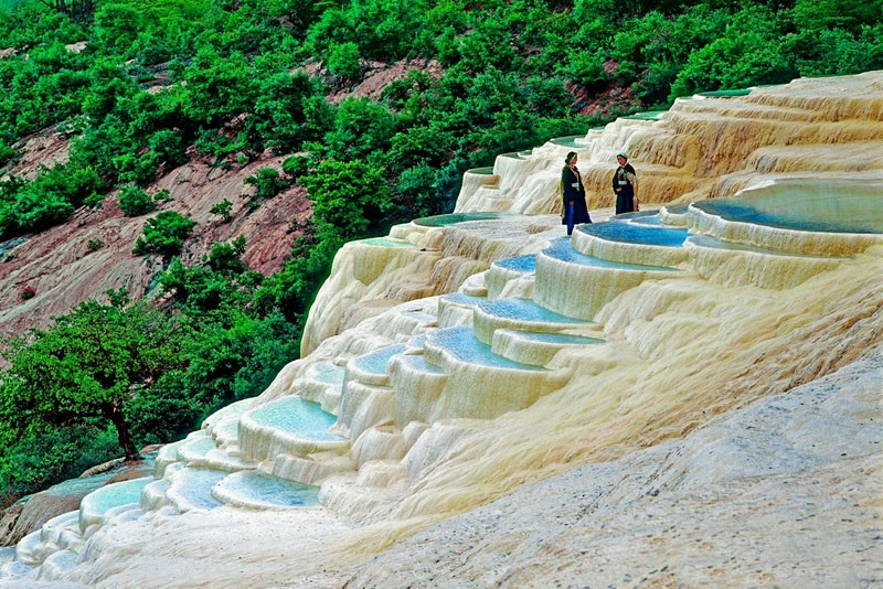 White Water Terraces with Tibetans