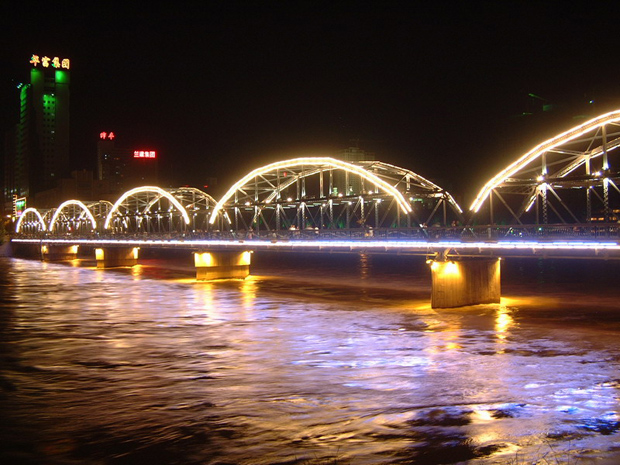 Yellow River Iron Bridge Night Scenery