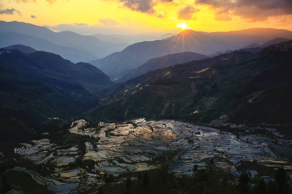 Yuanyang Rice Terraces in Yunnan China