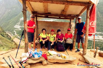 Clients Having a Rest on Tiger Leaping Gorge Tour in 2017