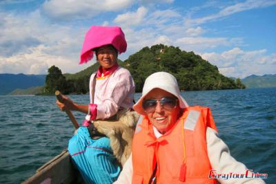 Easy Tour China Client Visiting Lugu Lake