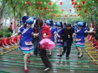 Travel Photos of Zhuang Minority Bamboo Dancing